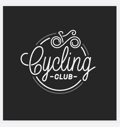 cycling club logo round linear logo bicycle vector image
