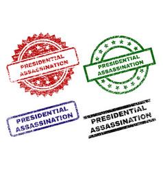 Damaged textured presidential assassination stamp vector