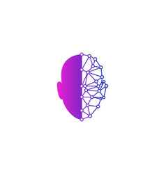 Digital human head logo icon design vector