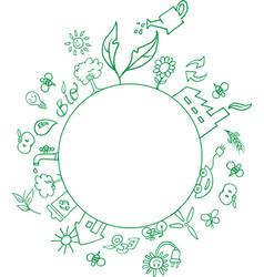 eco symbols around an empty circle vector image