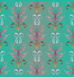 embroidery damask seamless pattern baroque style vector image