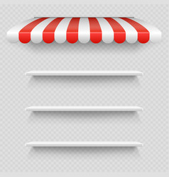 empty white shop shelf under striped white and red vector image