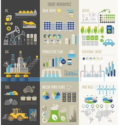 Energy and ecology Infographics with charts vector image