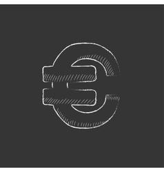 Euro symbol Drawn in chalk icon vector