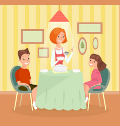 Family meal concept mother vector
