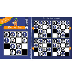 Find right answer memory chessmen vector
