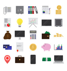 flat color finance and office set on white vector image