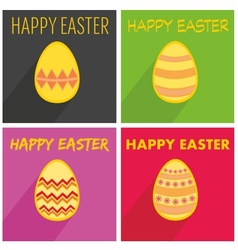 Flat easter egg set with wishes and long shadow vector image