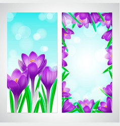 floral design vertical banners with violet vector image
