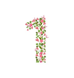 Floral font with spring pink flowers Romantic vector image