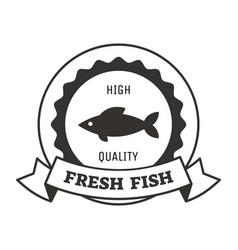 fresh fish logo design with monochrome silhouette vector image