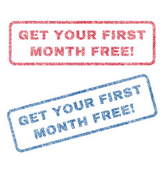 Get your first month free exclamation textile vector