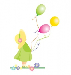 girl with color balloons vector image