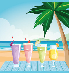 Glasses with fruits juices at table on beach vector