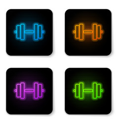 Glowing neon dumbbell icon isolated on white vector