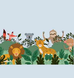 group of animals in the forest scene vector image