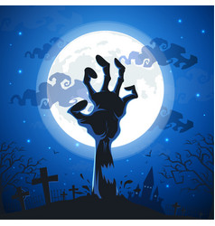 halloween background with zombie hands on full vector image