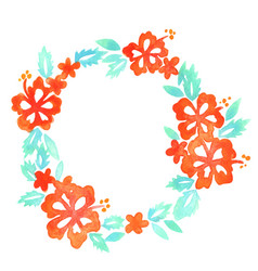 hibiscus flower with wreath copy space watercolor vector image