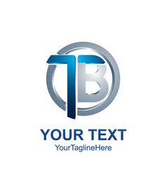 Initial letter tb logo template colored grey blue vector