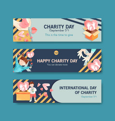 International day charity banner concept vector