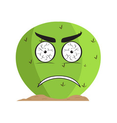 isolated angry cactus character vector image