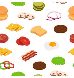 isometric burger ingredients pattern or vector image