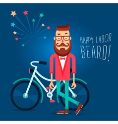 Labor Beard Hipster vector image