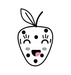 Line kawaii cute happy strawberry fruit vector