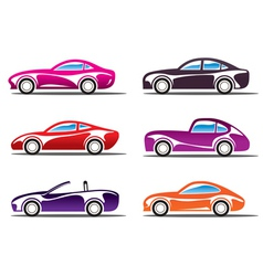 Luxury sport cars silhouettes vector