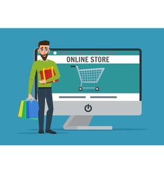 Man shopping online Business cartoon concept vector image