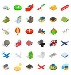Military force icons set isometric style vector