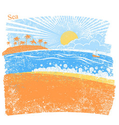 Nature sea background with palm island and blue vector