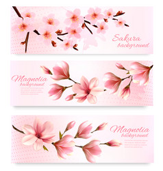 Nature spring banners with beautiful magnolia vector