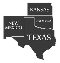New mexico - kansas - oklahoma - texas labelled vector