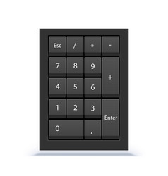 Numeric keypad close up view numpad with numbers vector