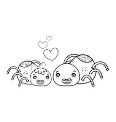 Outline happy spider couple character with hearts vector