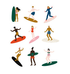 people riding surfboards set male and female vector image