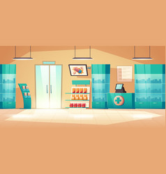 Pharmacy interior with counter pills and drugs vector