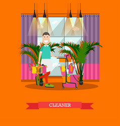 Professional cleaner in flat vector