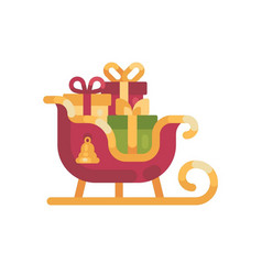 Santas sleigh with presents christmas flat vector