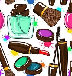 Seamless pattern of decorative cosmetics vector image