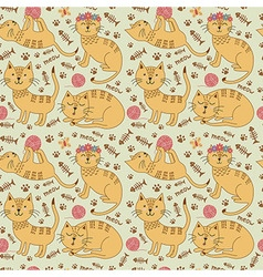 Seamless pattern with cute ginger cats vector image