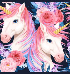 Seamless pattern with unicorn and flowers vector