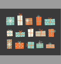 set christmas gift boxes in vintage style vector image