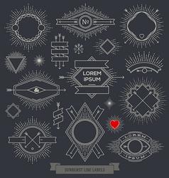 set line design emblem sign and hipster labels vector image
