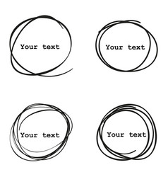 set of 4 hand drawn scribble circles elements vector image
