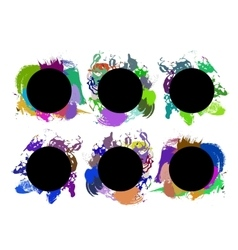 Set of color paint ink grunge dirty brush vector image