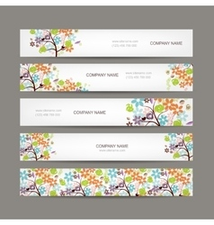 Set of horizontal banners with floral tree vector