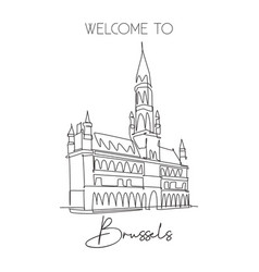 single continuous line drawing grand place of vector image
