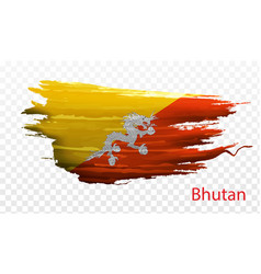 Smear paint of flag bhutan on transparent vector